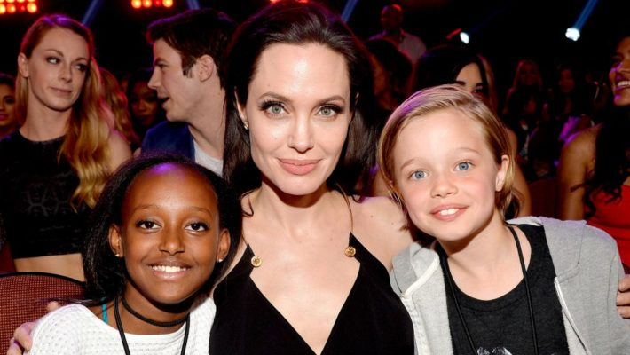 Angelina Jolie with daughters Zahara (left) and Shiloh at the 2015 Nickelodeon Kids' Choice Awards. Her daughter, Zahara was adopted from Ethopia back in 2005 when she was six months old.