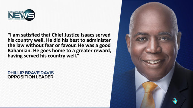 Opposition leader says CJ Isaacs served country well