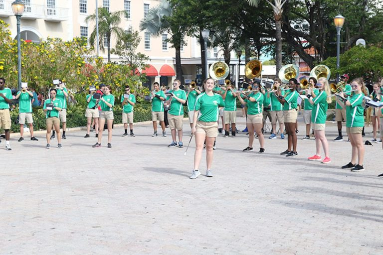 Visiting Clover Hill High School band performs in Rawson Square
