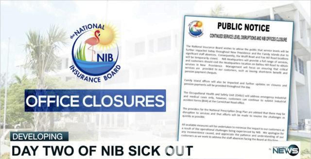 Staff at NIB call in sick for a second day