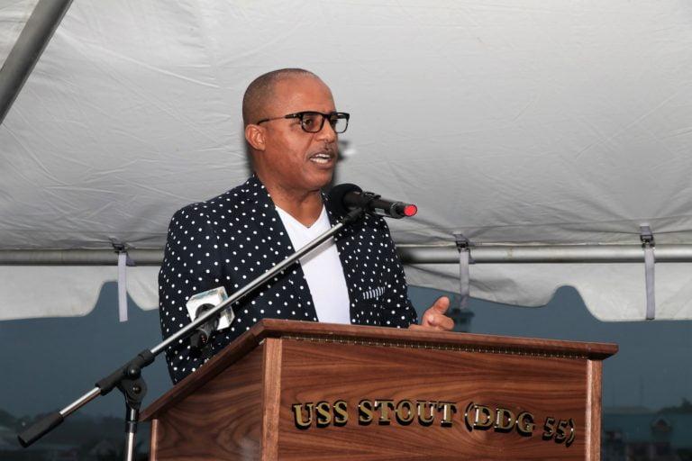 Minister Dames addresses reception aboard USS Stout