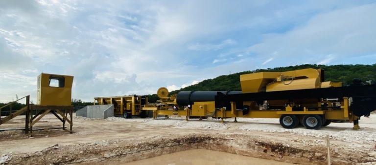 Mobile asphalt plant makes debut in Exuma