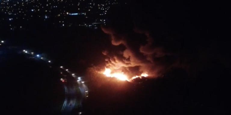 Massive blaze engulfs scrap metal yard near landfill
