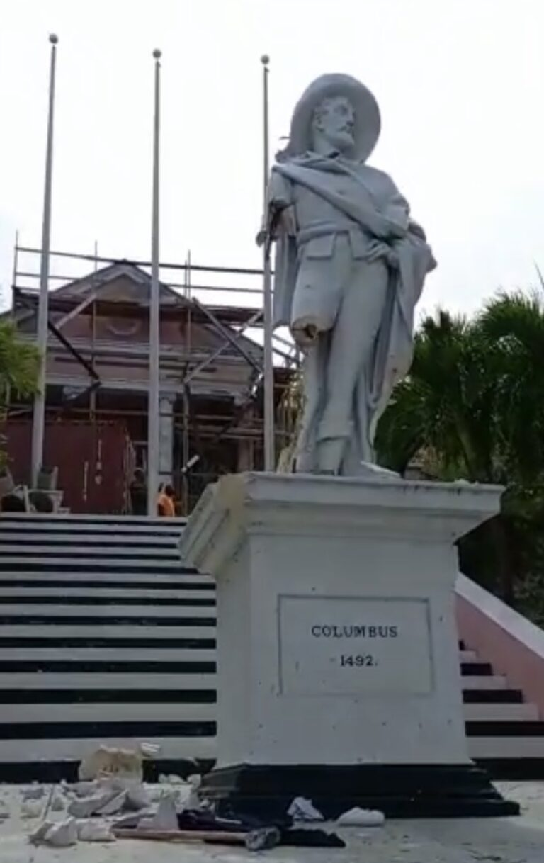 UP FOR DISCUSSION: Cabinet to consider colonial monuments after man partially tears down Columbus statue